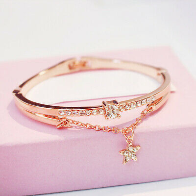 Fashion Rose Gold Plated Stainless Steel Bangle Bracelet Star Chain Jewellery • 3.98£