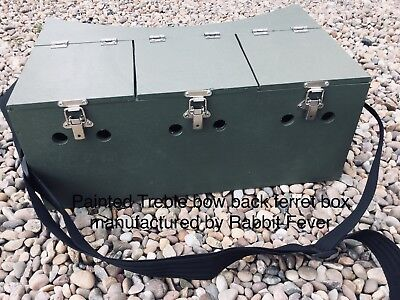 Triple Bow Back Ferret Box 3 Separate Compartment Hunting Rabbiting Ferreting • 40£