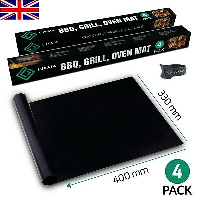 £7.99 • Buy BBQ Grill Mats Oven Liners Baking Sheets Barbecue Cooking Non Stick Gift 4 Pack