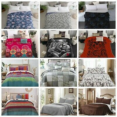 £32.99 • Buy 3PCs Quilted Bedspread Bed Throw Warm Comforter Bedding Set Double King Sizes