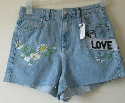 £28 • Buy TOPSHOP SHORTS  Cut Off Denim MOM  Love Me Not Embroidery FESTIVAL  Sz 8 NEW