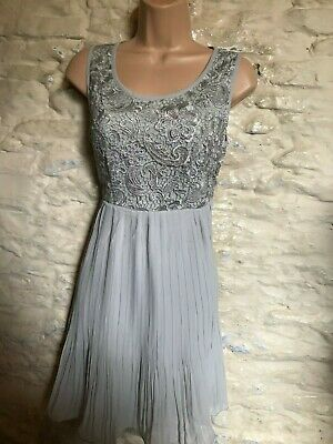 £8.99 • Buy BNWT Pussycat London Grey Lace Party Cocktail  Dress Size 8