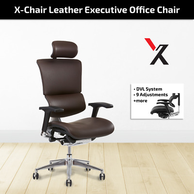 AU1597 • Buy X4 Chair Genuine Leather Office Home Executive Gaming Chairs + Head Rest Brown