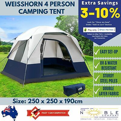 AU96.81 • Buy Tent Camping Dome 4 Person Man Family Pop Cabin Waterproof Outdoor Hike Canvas