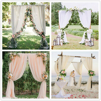 $26.80 • Buy Chiffon Backdrop 2 PCS 4.8ftx10ft  Background For Wedding Party Photo Arch Decor
