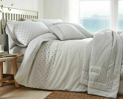 White & Grey Nautical Polka Dot Stripes Reversible Double Duvet Quilt Cover Set • 25.49£
