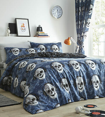Blue Black Reversible Pixel Music Gamer Skulls King Size Duvet Quilt Cover Set • 19.99£