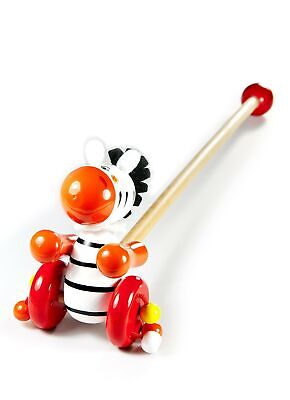Push Pull Along Wooden Toy Zebra For Baby Toddler Boys And Girls • 25.99£