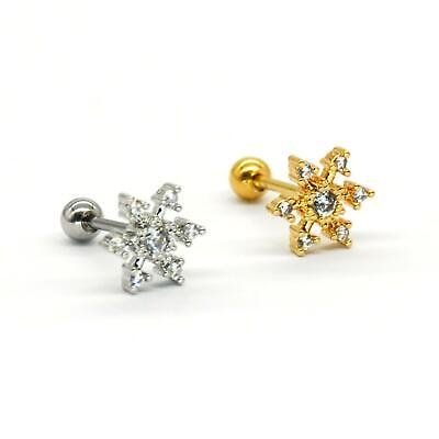 $4.90 • Buy S.Steel Rhinestone Micro Paved, Minimalist Earrings,Cartilage Piercing, SSCZ02