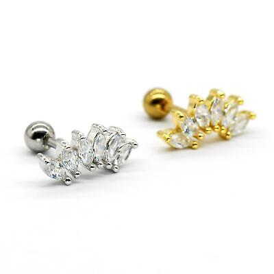 $4.90 • Buy S.Steel Rhinestone Micro Paved, Minimalist Earrings,Cartilage Piercing,SSCZ05