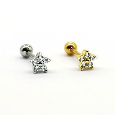 $4.90 • Buy S.Steel Rhinestone Micro Paved, Minimalist Earrings,Cartilage Piercing,SSCZ09