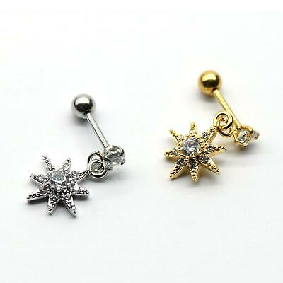 $4.90 • Buy S.Steel Rhinestone Micro Paved, Minimalist Earrings,Cartilage Piercing,SSCZ13