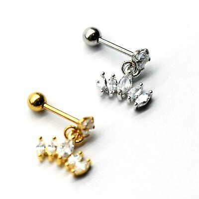 $4.90 • Buy S.Steel Rhinestone Micro Paved, Minimalist Earrings,Cartilage Piercing,SSCZ14