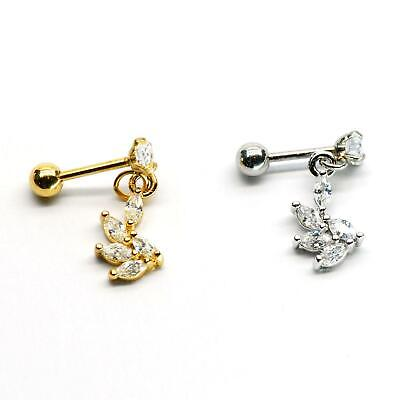 $4.90 • Buy S.Steel Rhinestone Micro Paved, Minimalist Earrings,Cartilage Piercing,SSCZ17