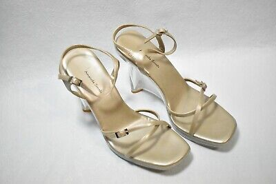 $21.99 • Buy Amanda Smith Shoes Wedge Heels Gold & Clear Size 9.5 Women's New