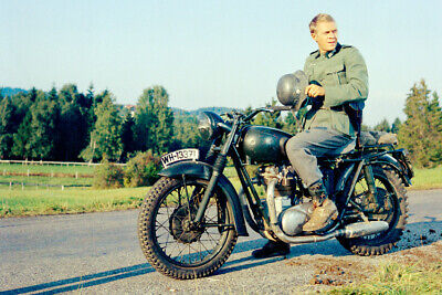 $29 • Buy The Great Escape Steve McQueen Holding Helmet On Motorcycle 24x36 Poster