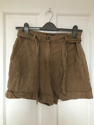 M+S Collection Beige Khaki Linen Shorts Safari Size 10 Holly Willoughby • 5.50£