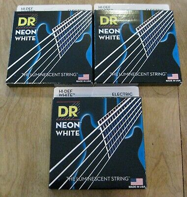 $ CDN34.67 • Buy DR Strings NWE-10 Neon White Colored Electric Guitar Strings - Set Of 3 - 10-46