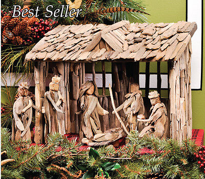 £188.50 • Buy Natural Driftwood 6 Piece Nativity Set With Stable