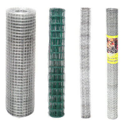 Welded Galvanised PVC Coated Chicken Wire Netting Roll Garden Fencing Mesh Cage • 55.95£