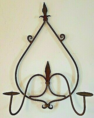 Wall Sconce Candle Holder - Wrought Iron Hand Forged Rustic Architectural Decor • 48.30£