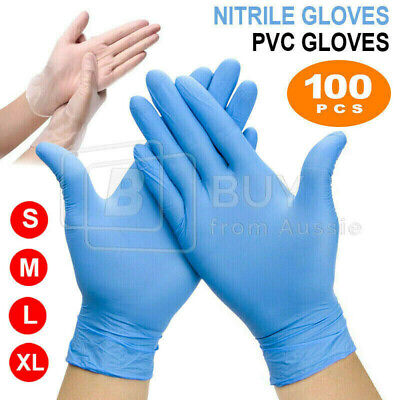 AU15.85 • Buy 100pcs Clear Vinyl Blue Nitrile Glove Disposable Powder Free Latex Free Gloves