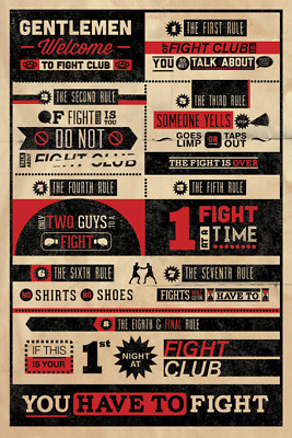 £8.01 • Buy FIGHT CLUB - INFOGRAPHIC POSTER - 24x36 MOVIE 3052