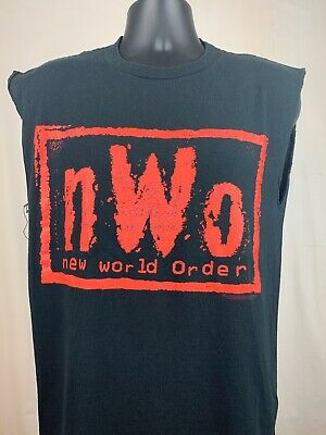 $ CDN37.58 • Buy Vintage 90s WWE NWO New World Order Chopped Shirt Size M/L WWF Titansports
