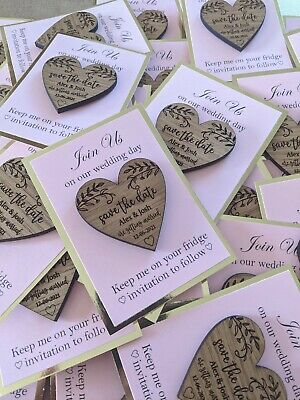 AU4.50 • Buy Save The Date Magnets, Wedding Save The Date, Engraved Wood Hearts Wedding