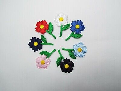 8 Pcs  Iron On - Satin Flowers Motif, Card Making,Hairband,Crafts,Sewing,Patch • 1.89£