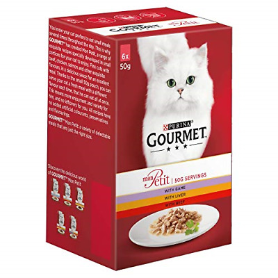 Gourmet Mon Petit Wet Cat Food Game Liver And Beef - Pack Of 8 • 28.40£