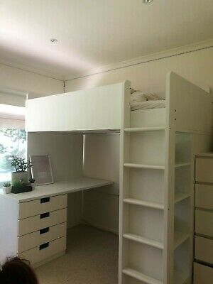 AU157.50 • Buy IKEA STUVA Kids Single Loft Bed Combo With Desk And With Four Drawers