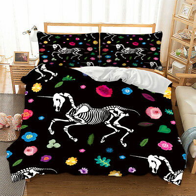 Gothic Skull Duvet Cover With Pillow Cases Quilt Cover Bedding Set All Sizes • 22.99£