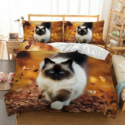 3D Animal Print Cat Duvet Cover With Pillow Cases Bedding Set Single Double King • 17.99£