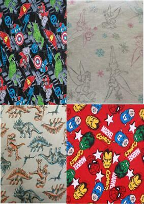 100% Brushed Cotton Winceyette Flannel Fabric Children's Tinkerbell, Marvel, Etc • 3.49£