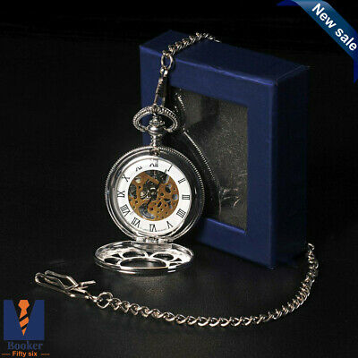 Vintage Quartz Chrome Pocket Watch With Chain 1920'S Classic Peaky Blinders NEW • 7.59£