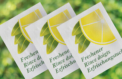 50 Small Lemon Fresh Hand Wet Wipes Towels Individually Wrapped Hygienic • 3.25£