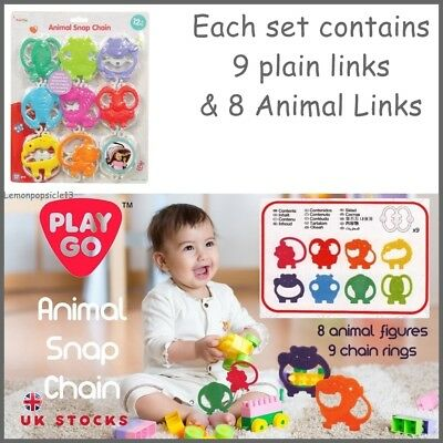 Playgo Snap Chain Baby Rings Links Stroller Cot Car Seat Toy Animal  • 8.95£