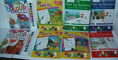 Paint By Numbers Adults-Children's Painting Brush & Colours A4 Designs.Plus More • 2.99£