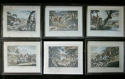 Six Antique SAMUEL HOWITT Fox Hunting Etchings Framed • 150£