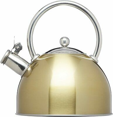 KitchenCraft Le'Xpress Induction Stove Top Whistling Kettle, Metal, Brass Finish • 17.99£