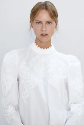 $39 • Buy Zara White High Neck Lace Embroidered Combined Puffy Sleeve Poplin Blouse XL