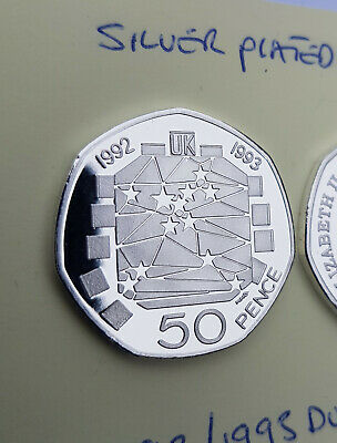 50p COIN 1992/1993 UK Presidency Of The EU SILVER PLATED PROOF FINISH MULTI LIST • 8.99£