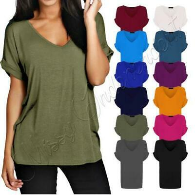 Women Baggy Oversized Loose Fit Turn Up Batwing Sleeve Ladies V Neck Top T Shirt • 3.99£