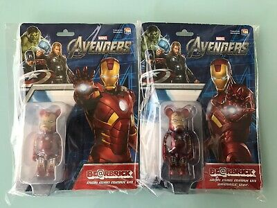 $300 • Buy 2 Marvel's Avengers 100% Bearbrick Iron Man Normal / Damaged IRONMAN Be@rbrick