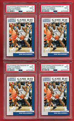 $43 • Buy 2019 Panini Contenders #1  Zion Williamson Rookie 4 Card Lot All  Psa 9  Mint