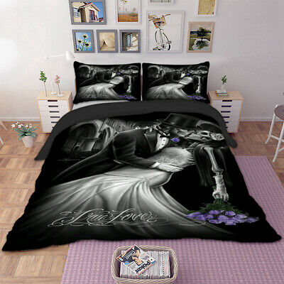 Gothic Skull Duvet Set Quilt Cover Bedding Set Single Double King All Sizes • 24.99£