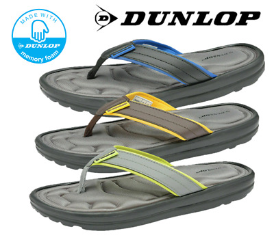 Dunlop Mens Memory Foam Beach Summer Thong Toe Post Flip Flops Pool Sandals • 14.99£