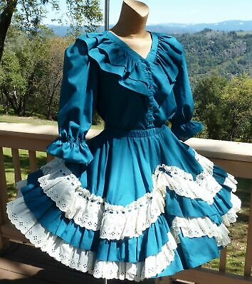 $22.50 • Buy Malco Modes 2pc Dark Teal Square Dance Dress-Med LG Bust 44   W-28 -42  L-21