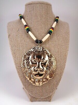 $25 • Buy NEW!!!  Living Large 25  Rasta Beaded Necklace W/Gold Plated Lion Head Pendant